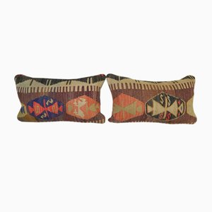 Turkish Lumbar Kilim Cushion Covers, Set of 2