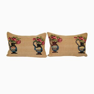 Ethnic Aubusson French Decor Lumbar Cushion Covers, Set of 2