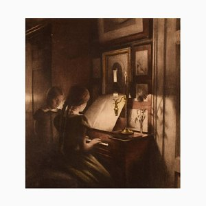 Interior with Two Girls at the Piano Etching by Peter Ilsted