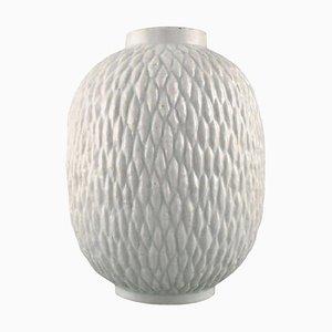 Chamotte Vase in Milky White Glaze by Gunnar Nylund for Rörstrand, 1950s