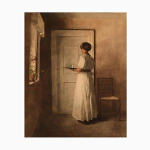 Girl with a Tray Lithograph by Peter Ilsted, 1915