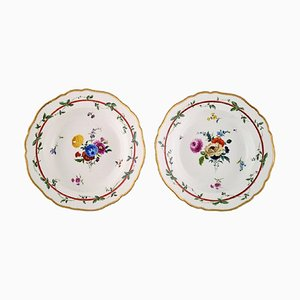 Antique Meissen Deep Plates in Pierced Porcelain with Floral Motifs, Set of 2