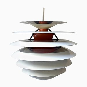 Contrast Pendant with White and Orange Metal Lamellas by Poul Henningsen, 1960s