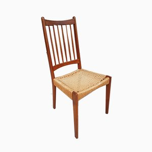 Mid-Century Danish Paper Cord Occasional Side Dining chair from Mogens Kold