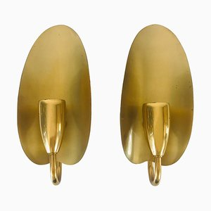 Mid-Century Modern Leaf-Shaped Brass Wall Lamps, 1950s, Set of 2