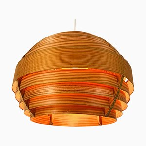 Mid-Century Wooden Pendant Lamp from Hans-Agne Jakobsson, Sweden, 1960s