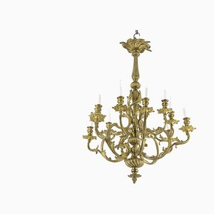 Rocaille Style Chandelier in Gilt Bronze, 1880s