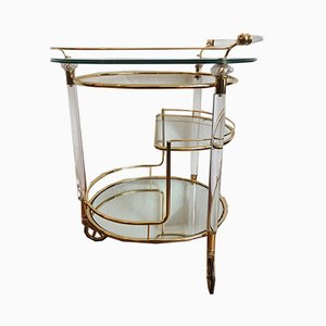 Italian Bar Cart with a Golden Frame in Brass and Plexiglass on Wheels, 1950s