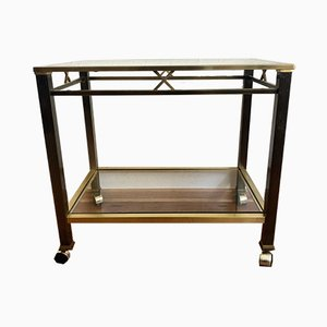 Italian Bar Cart with a Golden Brass Frame on Wheels, 1990s