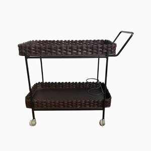 Mid-Century Bar Trolley on Wheels with Rattan & Basket Trays and Iron Rack, 1960s