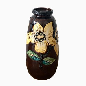 Large Boho Fat Lava Ceramic Floor Vase with Flower Decor, 1950s