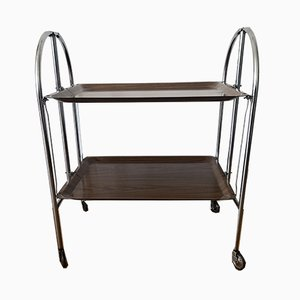 Dinette or Serving Trolley in Chrome with Brown Trays, 1970s