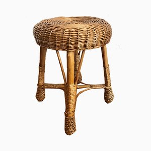 Vintage Bamboo Stool with Rattan Braid, 1960s