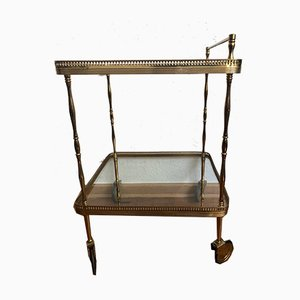 Neoclassical Style Brass Bar Trolley with Glass Trays, 1960s