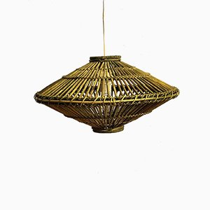 Mid-Century Ceiling Lamp in Bamboo, 1970s
