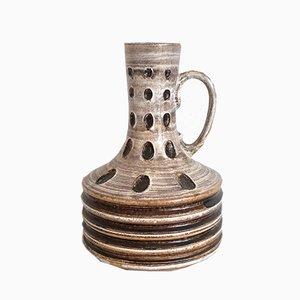 Large Boho Fat Lava Ceramic Floor Vase with Handle, 1950s