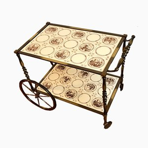 Golden Bar Cart with Ceramic Trays, 1960s
