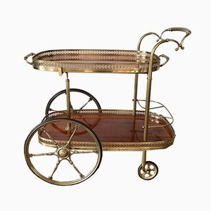 Neoclassical Style Bar Cart with a Gold Brass Rack on Rolls, 1970s