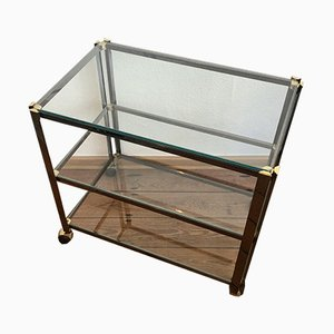 Italian Bar Cart with a Silver Frame with Golden Details on Wheels, 1950s