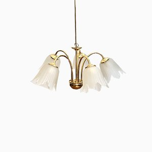 Vintage Golden Brass Ceiling Lamp with Glass Shades, 1970s