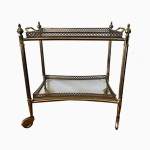 French Neoclassical Style Brass Bar Trolley with Removable Tray, 1960s