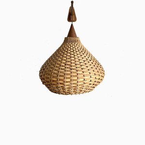 Mid-Century Wall Light in Wood and Rattan, 1960s