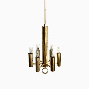 Vintage Italian Golden Brass Ceiling Lamp with Glass, 1970s