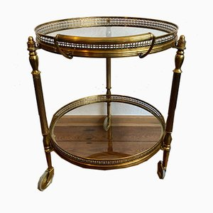 French Neoclassical Style Round Brass Bar Cart, 1960s