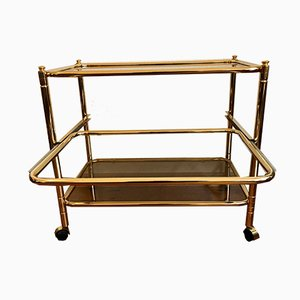 Golden Bar Cart with Extendable Glass Tray, 1960s