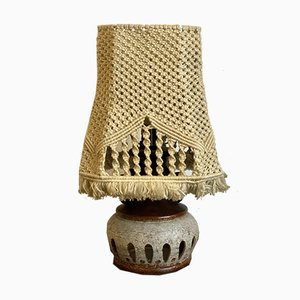 Table Lamp with a Ceramic Foot and Macrame Shade, 1950s