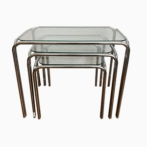 Handmade Chrome Nesting Tables, 1970s