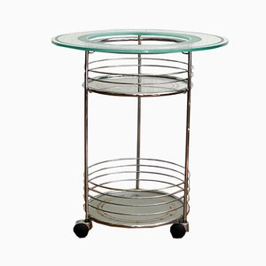 Round Chrome Bar Trolley with 3 Glass Shelves