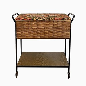 Small Mid-Century Sewing Box in Rattan Braid and a Wooden Shelf, 1960s