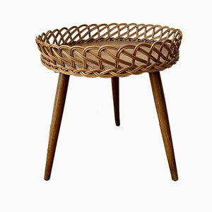 Vintage Plant Flower Stool with a Rattan Border, 1950s