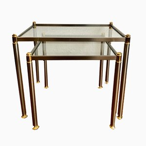 Side Tables with Slightly Tinted Glass Panes, 1970s, Set of 2