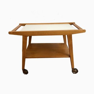 Mid-Century Wooden Serving Trolley with a White Ceramic Plate, 1950s