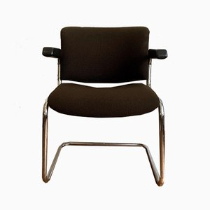 Cantilever Chair with a Seat Cushion in Brown Fabric Cover, 1960s