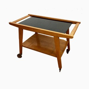 Mid-Century Wooden Serving Trolley with a Black Glass Panel, 1950s
