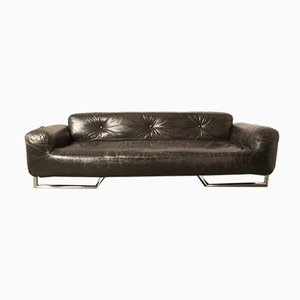 Black Leather and Chrome Sofa, 1960s
