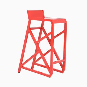Walk the Line Red Stool by Deevie Vermetten for Fermetti Atelier Belge, 2012