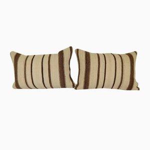 Organic Reclaimed Turkish Hemp Kilim Lumbar Cushion Cover