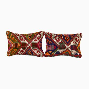 Jajim Cicim Turkish Lumbar Cushion Cover, Set of 2