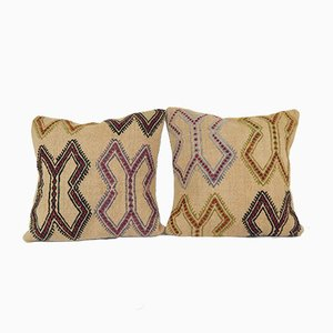 Striped Turkish Kilim Cushion Cover Covers, Set of 2