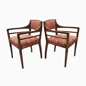Danish Oak and Sculpted Velvet Armchairs, 1920s, Set of 2