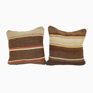 Handmade Turkish Hemp Cushion Covers, Set of 2