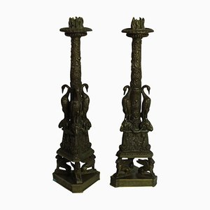 Bronze Candle Holders by Piranesi, Set of 2