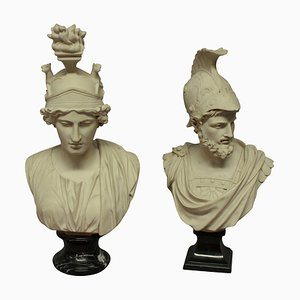 French Busts of Ajax and Roma, 1970s, Set of 2