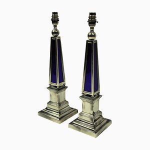 Vintage Silver Plated and Blue Glass Obelisk Table Lamps, Set of 2