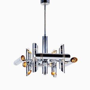 Lámpara de araña geométrica vintage de metal cromado de Gaetano Sciolari para Boulanger, años 70