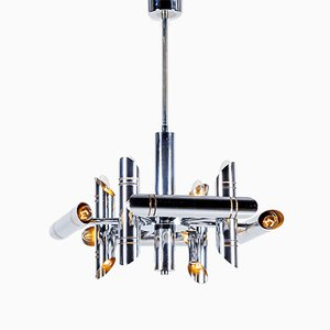 Vintage Geometric Chrome Chandelier by Gaetano Sciolari for Boulanger, 1970s